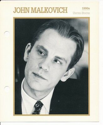 "JOHN MALKOVICH MOVIE STAR ENCYCLOPEDIA 5 3/4"" X 7"" CARD-1990's"
