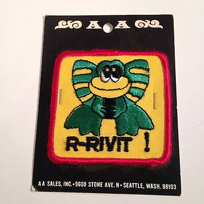 "C04 VTG PATCH 3"" Embroidered Cloth R-RIVIT FROG unopened AA Sales Seattle WA"