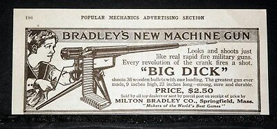 "1916 Old Magazine Print Ad, Milton Bradley's New ""big Dick"" Toy Machine Gun!"