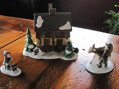 "Dept 56 Dickens Village Set of 3 ""Tending the New Calves"" Retired Excellent!"