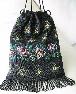 Antique Art Nouveau Deco Crochet Black Pink Floral Micro Bead Drawstring Purse