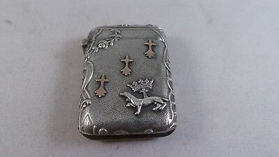 Nice French Antique Sterling Silver and gold Vesta Case Circa 1890