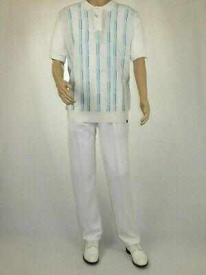 Mens SILVERSILK Two Piece Walking Leisure Suit Knit Slacks Set 9312 White blue
