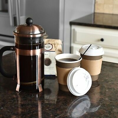 100 Pack 12 Oz Disposable Hot Paper Coffee Cups Lids Sleeves Stirring Straw
