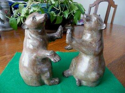 "Pair of BEAR BOOKENDS Vintage Heavy Metal  7"" Tall Made in India"