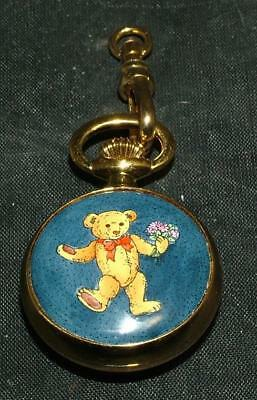 RARE Halcyon Days Enamel TEDDY BEAR WATCH CHARM PENDANT