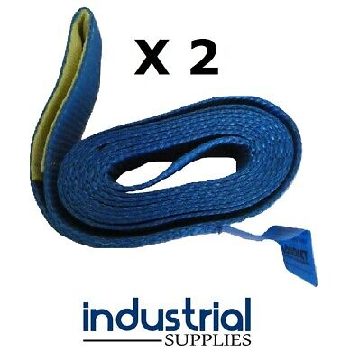 2 x Car Carrying Strap With Loop 50mm Wide x 3Mtr Trailer Tow truck Tilt tray