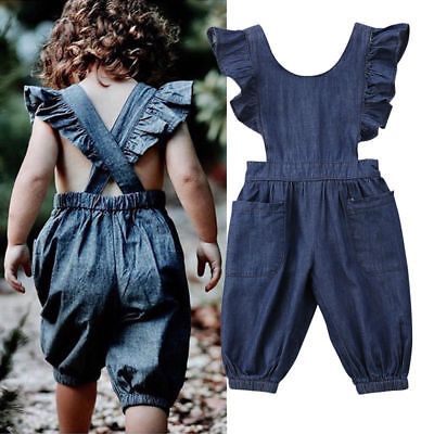 AU STOCK Toddler Baby Girls Boys Denim Romper Bodysuit Jumpsuit Outfits Clothes