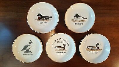"Set Of 5 Porcelain 4"" Duck Plates By Quinnipiac Chapter Ducks Unlimited"