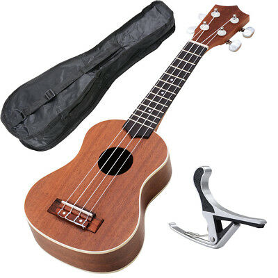 "21"" Sapele Wood Ukulele Guitar 12 Frets Hawaiian Instrument Concert w/Carry Bag"