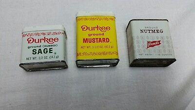 Vintage Durkee and French's Spice Tins Lot of 3