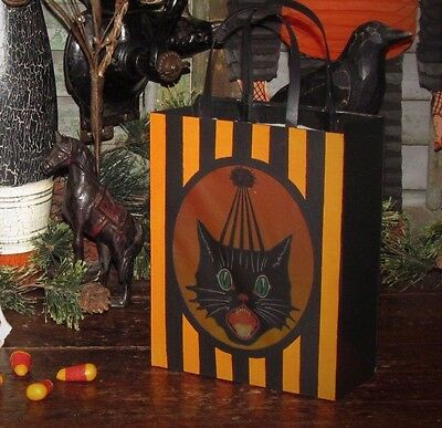BETHANY LOWE Vtg Style Halloween BLACK SASSY CAT Paper Tin LANTERN RETIRED