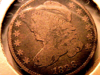 1828 Sm Date Capped Bust Dime Original Ch VG+ R2 10C USA Ten Cents Scarce Coin