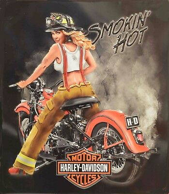 Harley Davidson Hot Firefighter Pinup Girl 8X10 Photo Motorcycle Man Cave DECOR