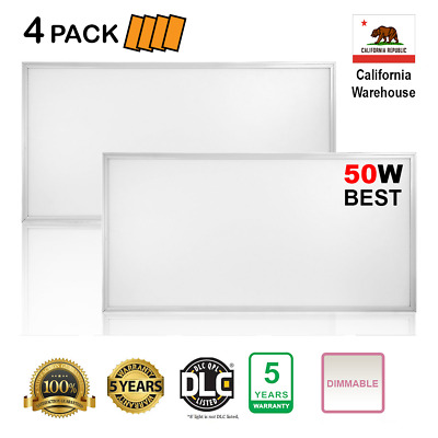 4 Pieces (PACK) 2X4FT 50W, 6220lm, 4000K LED Flat Panel Troffer Dimmable Light
