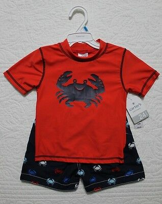 New Carters Baby Boys Swim Set Rash Guard Swim Shorts Various Sizes Crabs