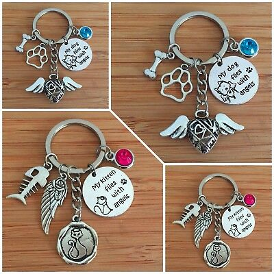 Dog Cat pet loss memorial keyring sympathy gift with angel wings paws fish bone