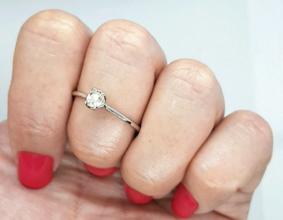 White Sapphire Solitaire Ring, Engagement Ring, few Sizes, Silver