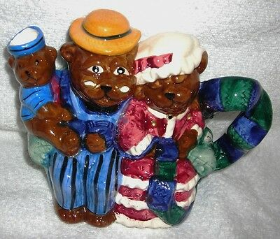 Express Productions-Vtg HandPainted Three Bears On Couch Shape Ceramic Teapot Fg