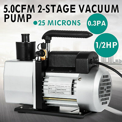 Dual Stage Vacuum Pump Rotary Vane 5CFM 1/2HP Deep HVAC AC Air Tool Black New