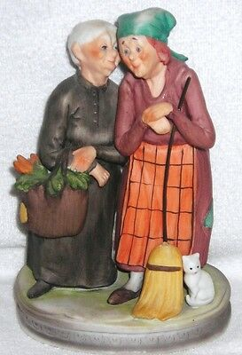 Lefton - Vintage Hand Painted Two Old Women Doing Household Chores Figurine 4724