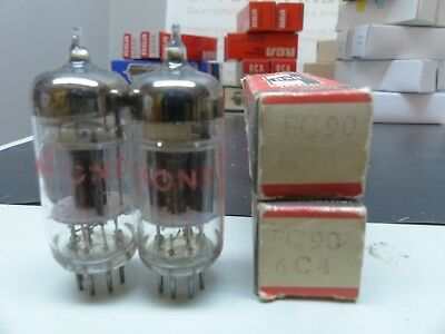 2x 6C4 EC90 tripple Mica 50th RÖHRE-TUBE-NOS-IN-BOX unused Valvola