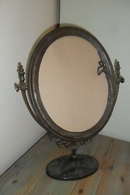 Antique Large Art Nouveau French Brass Free Standing Swivel Mirror Frame