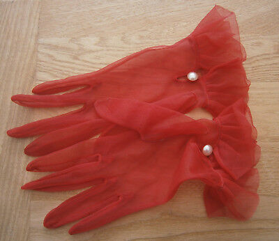 VINTAGE 1950s RED CHIFFON WRIST LENGTH NYLON GLOVES FRILLED WRISTS PEARL BUTTON