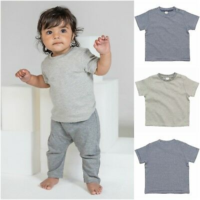 Organic Cotton Baby T-Shirt Short Sleeve Top Soft Stretch Boy Girl Stripe Jersey