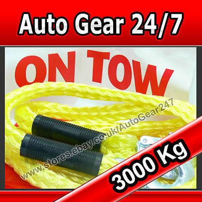 3 Ton 3000kg 3.5m Towing Heavy Duty Car Tow Rope +On tow Sign,Storage Bag & Flag