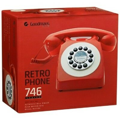 Retro Desk Telephone Push Button Dial Corded Phone Metallic Red Classic Gift New