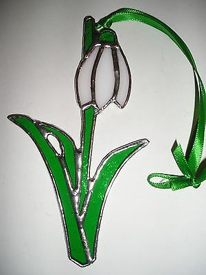 Stained Glass Snowdrop Birthday Flower January Suncatcher Hand Made in England