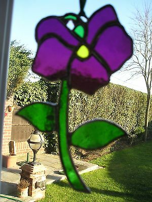 Stained Glass Violet Birthday Flower February Suncatcher Hand Made in England