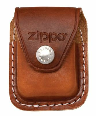 Genuine Real Leather Zippo Brown Pouch Case with Belt Clip for Zippo Lighters