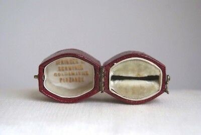 Rare Fine Antique Victorian Edwardian Ruby Red Leather Fitted Ring Box Valentine