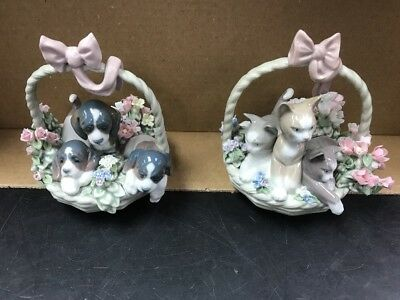 Lladro #1444 Purr-fect & #1441 A Litter Of Love Retired No Box Mint Free Ship