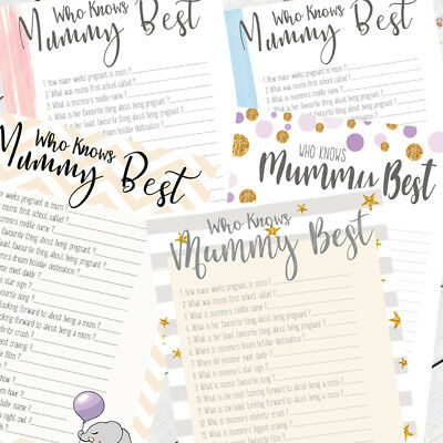 Who Knows Mummy Best Baby Boy/Girl/Unisex New Mum To Be Party Baby Shower Game