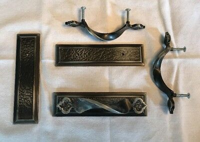 Decorative Black Metal W/ Nickel Tones Drawer/Cabinet Pulls With Back Plate