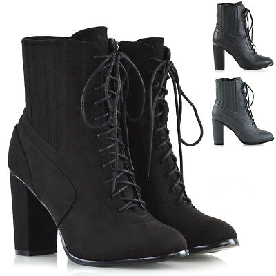 Womens Ankle Boots Block Mid High Heels Lace Up Zip Ladies Biker Winter Shoes