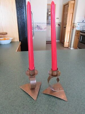 Vintage Original Arts And Crafts / Mission Hand Hammered Copper Candlesticks