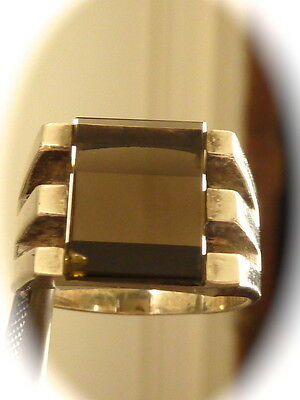 Men's sterling silver smokey quartz   ring new old found jewelry stock size 8.25