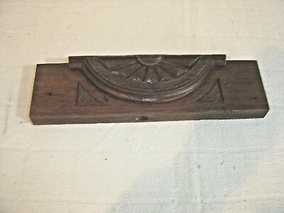 "Antique Walnut Pediment Salvage with applied half sunburst design. 12 1/2"" w 119"