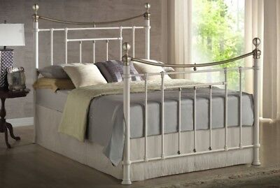 Traditional Bronte 5ft King Size Metal Bed Frame Cream- Brass Details