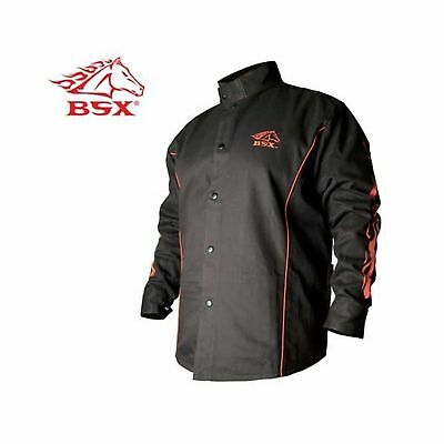 BSX BX9C Black W/ Red Flames Cotton Welding Jacket - XL