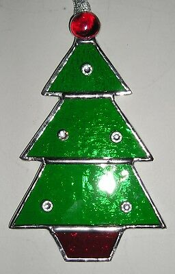 Stained Glass Decorated Christmas Tree, Suncatcher, Hand Made in England