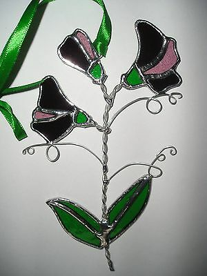 Stained Glass Sweet Pea, Birthday Flower April, Suncatcher, Hand Made in England
