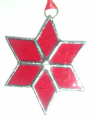 Stained Glass Red Star, Suncatcher, Christmas Decoration, Hand Made in England
