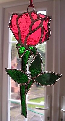 Stained Glass Rose, Birthday Flower June, Suncatcher, Hand Made in England