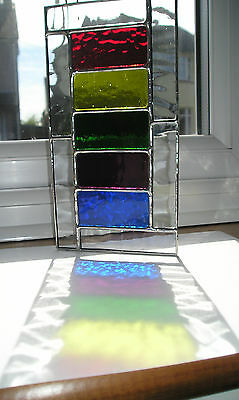 Stained Glass Panel, Ladder Rainbow, Suncatcher, Hand Made in England