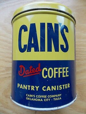 Vintage Cain's Coffee Tin Pantry Canister Yellow & Blue